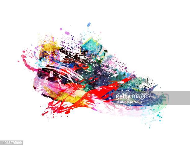 colourful sneaker illustration - graphic print stock pictures, royalty-free photos & images