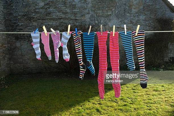 colourful socks on washing line