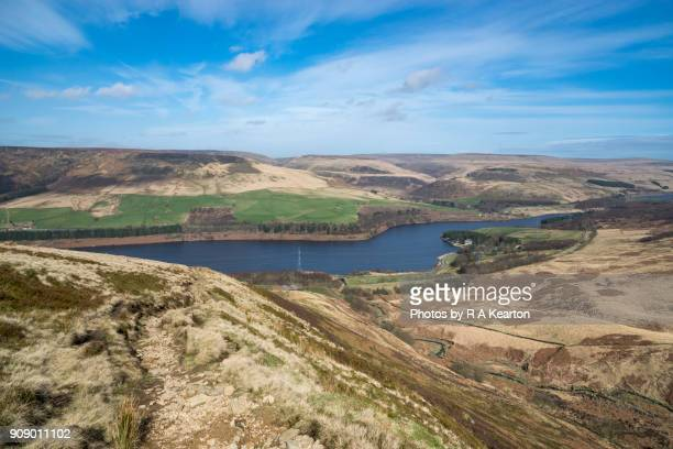 Colourful spring day in the Longdendale Valley, Derbyshire, England