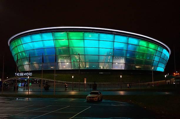 Colourful SSE Hydro at Night, Glasgow, United Kingdom