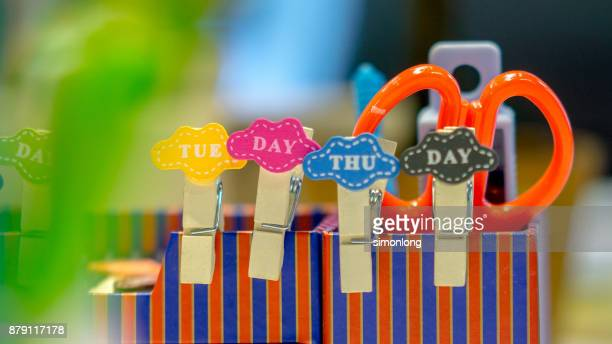 colourful stationery - tuesday stock photos and pictures