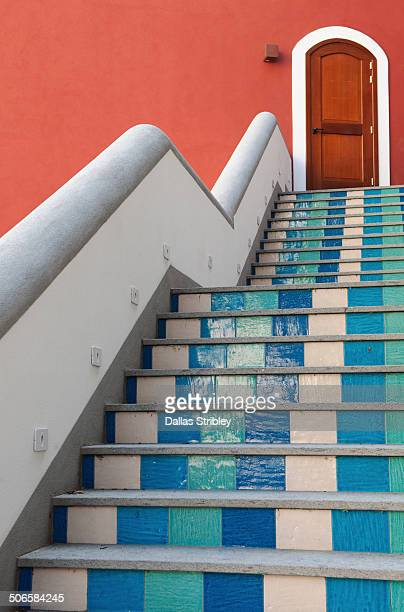 Colourful steps to door in Positano, Italy
