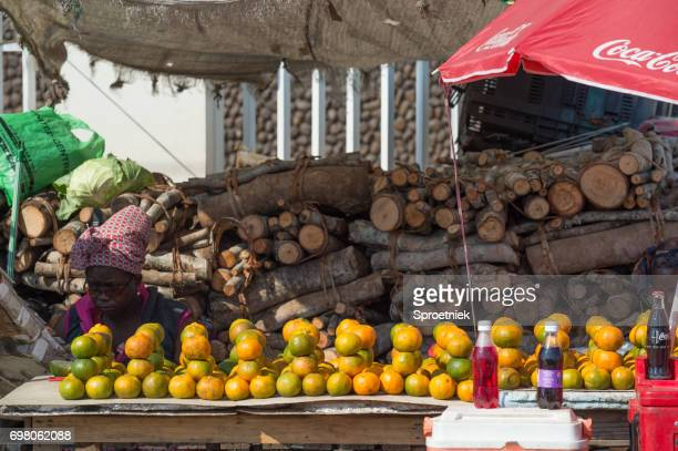 Colourful streetside stalls in Maputo, Mozambique,