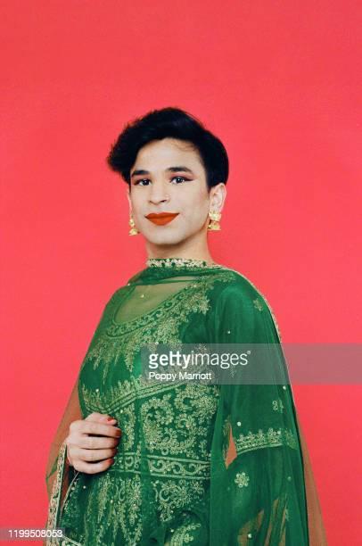 colourful studio portrait of a young non-binary individual - gender fluid fotografías e imágenes de stock