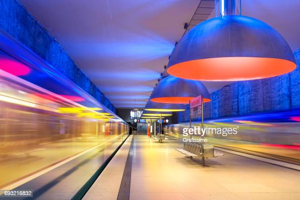 Colourful subway station in Munich Germany