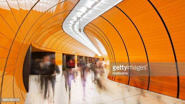 colourful subway station in munich germany - subway station stock pictures, royalty-free photos & images