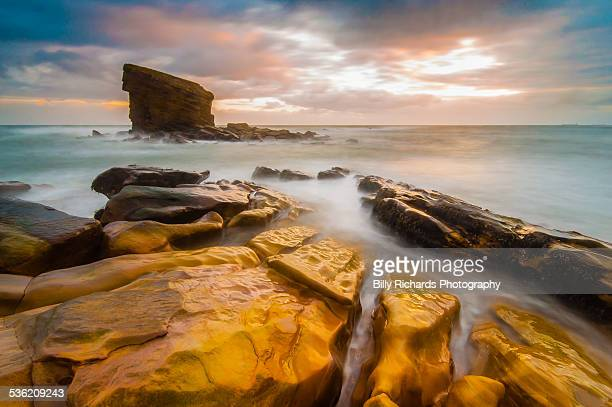 colourful sunrise - northumberland stock pictures, royalty-free photos & images