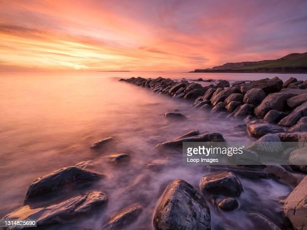 Colourful sunset a Kimmeridge Bay.