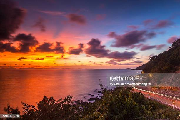 colourful sunset and the beautiful coastline - chanthaburi sea stock pictures, royalty-free photos & images