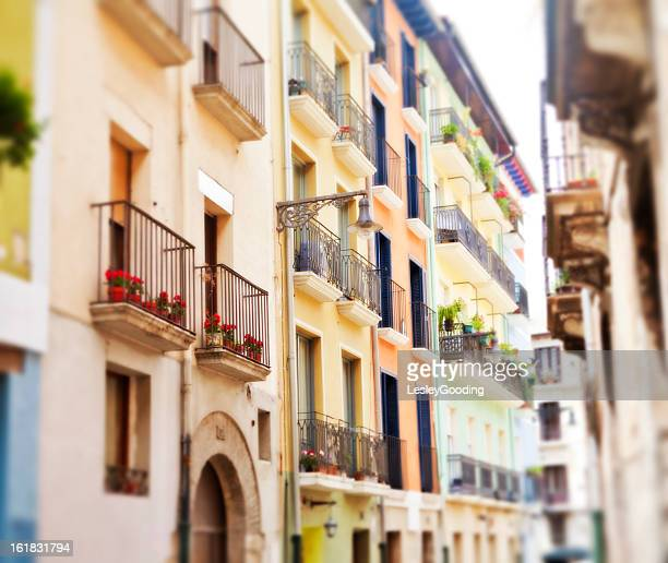 colourful tenements in pamplona spain - pamplona stock photos and pictures