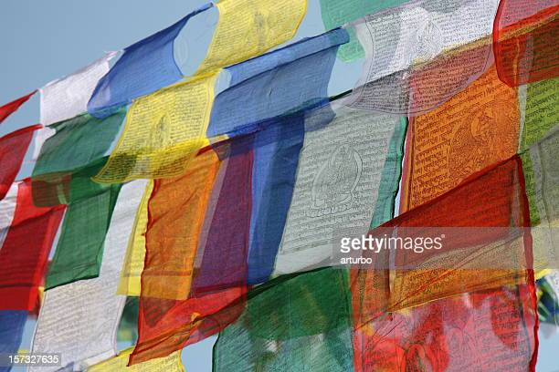 colourful tibetan prayer flags - tibetan culture stock pictures, royalty-free photos & images