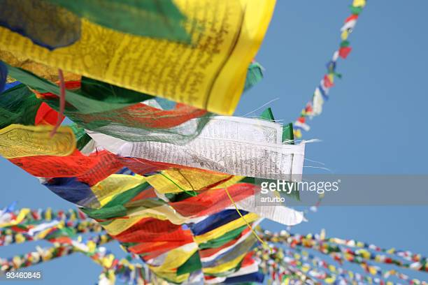 colourful tibetan prayer flags - tibetaanse cultuur stockfoto's en -beelden