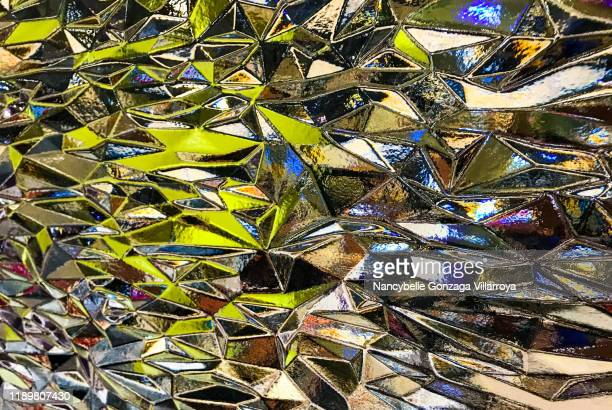 colourful transparent fake stained glass made of thick plexiglass - translucide photos et images de collection
