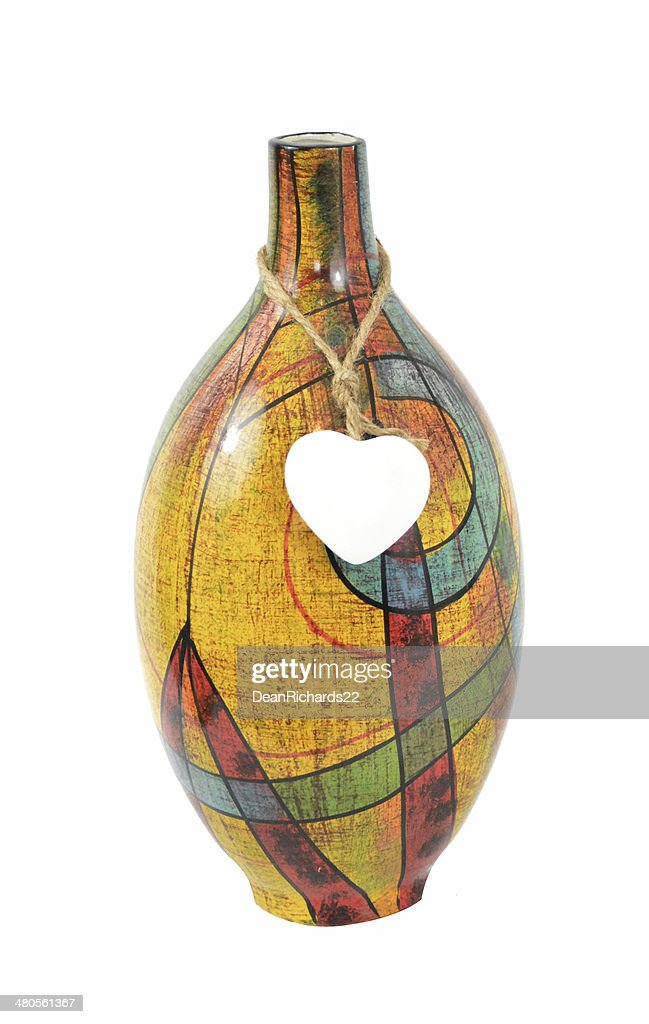 Colourful Vase with Heart Motif : Stock Photo