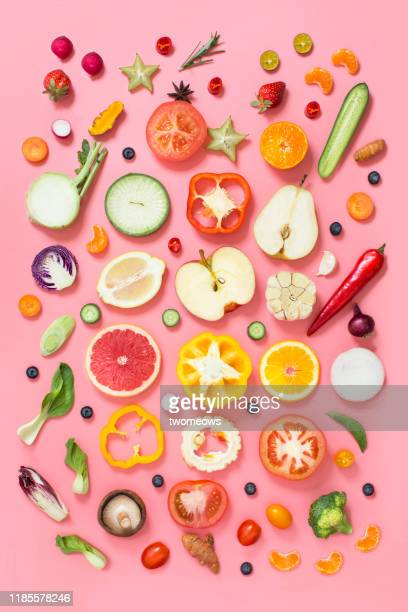 colourful vegan food conceptual still life. - obst stock-fotos und bilder