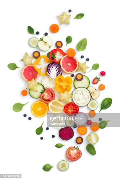 colourful vegetables and fruits still life. - vegetable stock pictures, royalty-free photos & images