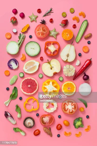 colourful vegetables and fruits text space still life. - obst stock-fotos und bilder