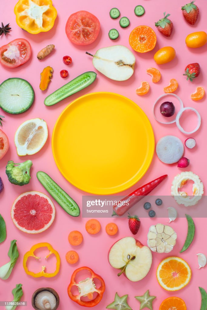 Colourful vegetables and fruits text space still life. : Stock Photo