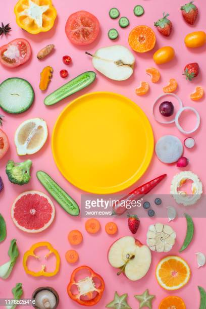 colourful vegetables and fruits text space still life. - antioxidant stock pictures, royalty-free photos & images