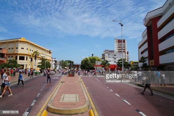 Colourful view on Avenue Venezuela, Cartagena Colombia