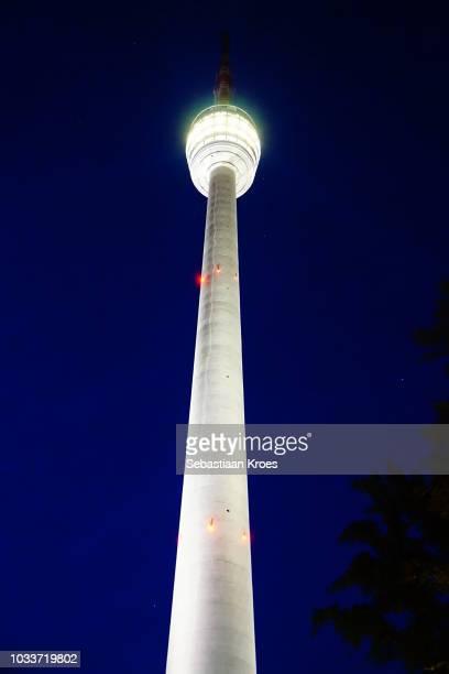 Colourful view on Fernsehturm Stuttgart Tower, Night, Stuttgart, Germany