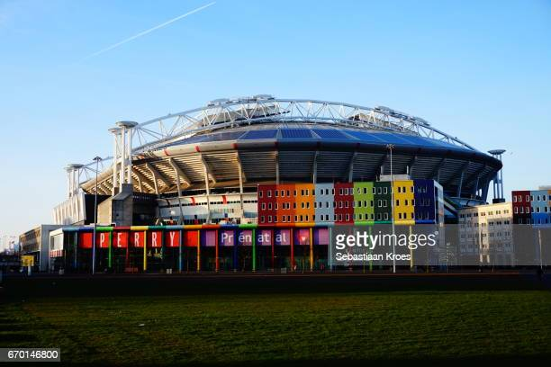 colourful view on the amsterdam arena soccer stadium, amsterdam, the netherlands - 2017 stock pictures, royalty-free photos & images