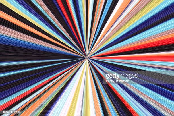 colourful virtual striped tunnel - image photos et images de collection