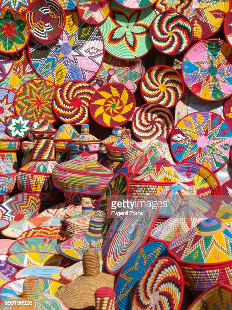 Colourful wicker baskets for sale in Aksum city in Northern Ethiopia