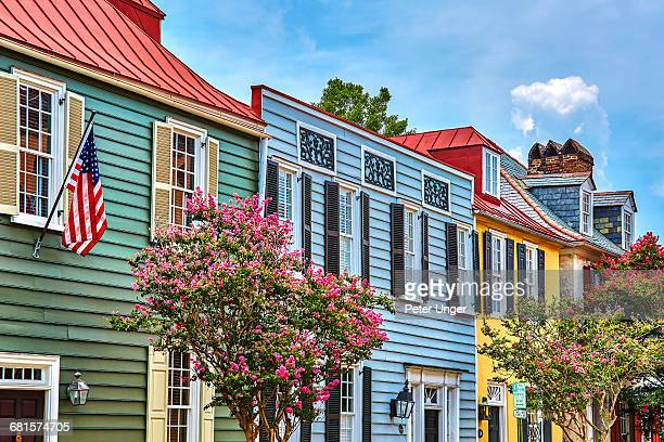 colourful wooden houses,charleston - south carolina stock pictures, royalty-free photos & images