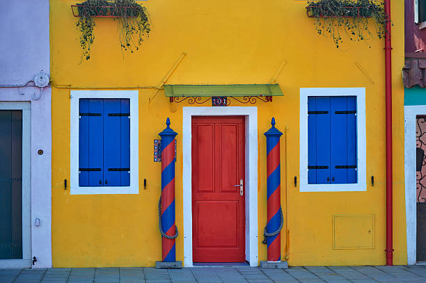 Colourfully painted houses on Burano
