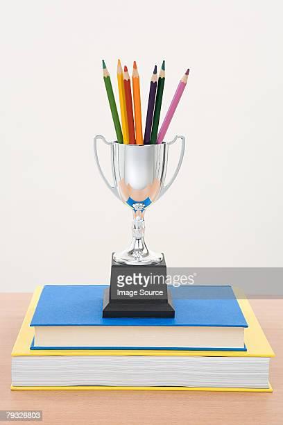 colouring pencil trophy and books - colouring bildbanksfoton och bilder