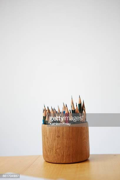 Colouring pencils in pot