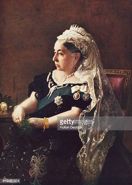 Colourised photographic portrait of Queen Victoria taken 'By Royal Command' at Buckingham Palace, London, 1896.