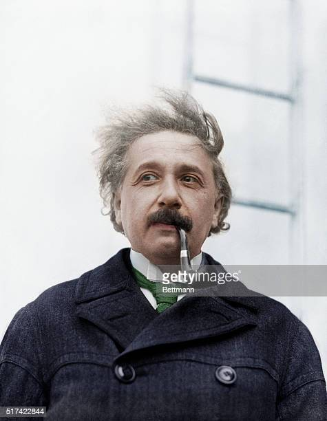Colourized portrait of German-born American physicist Albert Einstein on his arrival in New York from Europe on the SS Rotterdam, 2nd April 1921.