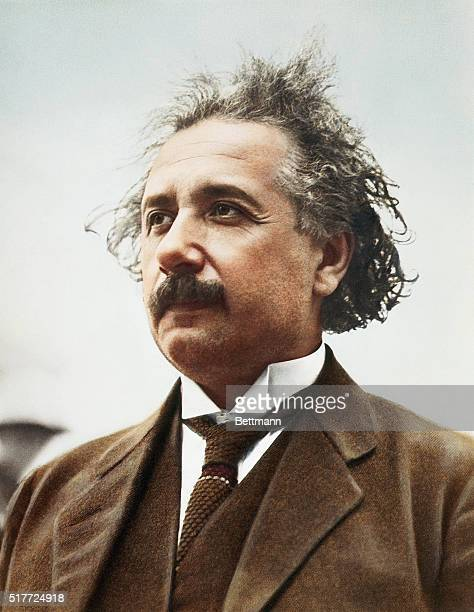 Colourized portrait of German-born theoretical physicist, Albert Einstein , circa 1921.