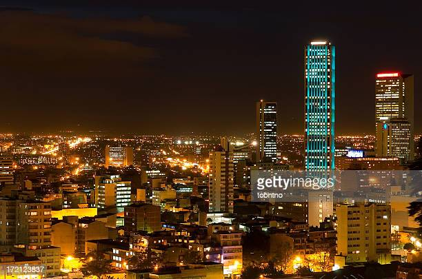 torre colpatria: turqouise - colombia stock pictures, royalty-free photos & images