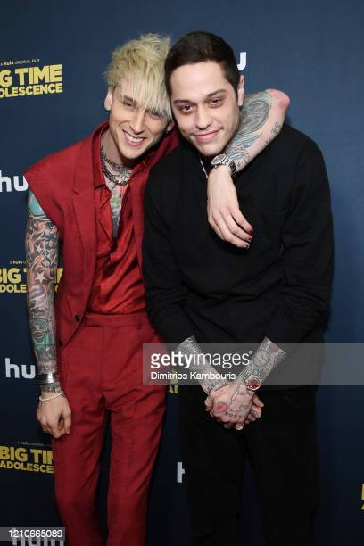 Colson Baker AKA Machine Gun Kelly and Pete Davidson attend the premiere of Big Time Adolescence at Metrograph on March 05 2020 in New York City