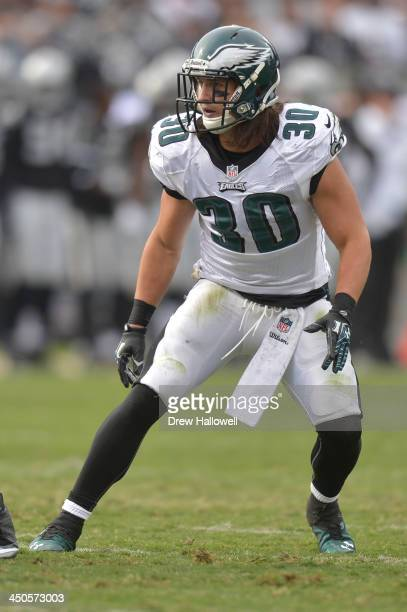 Colt Anderson of the Philadelphia Eagles drops back against the Oakland Raiders at Oco Coliseum on November 3 2013 in Oakland California The Eagles...