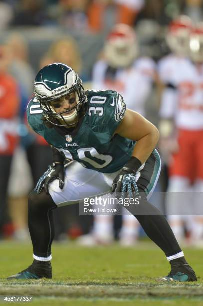 Colt Anderson of the Philadelphia Eagles gets set against the Kansas City Chiefs at Lincoln Financial Field on September 19 2013 in Philadelphia...