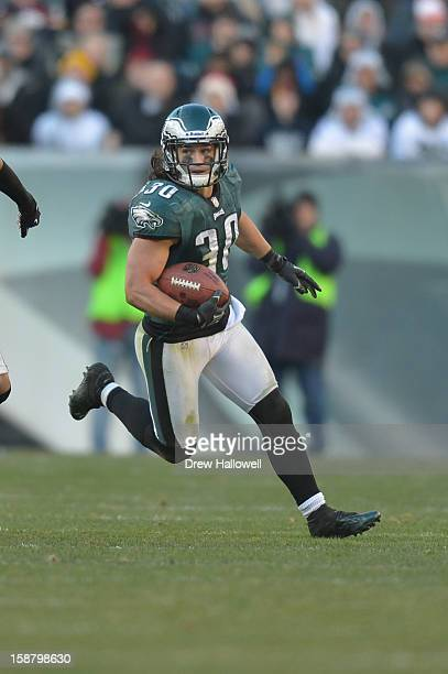 Colt Anderson of the Philadelphia Eagles returns an interception during the game against the Washington Redskins at Lincoln Financial Field on...
