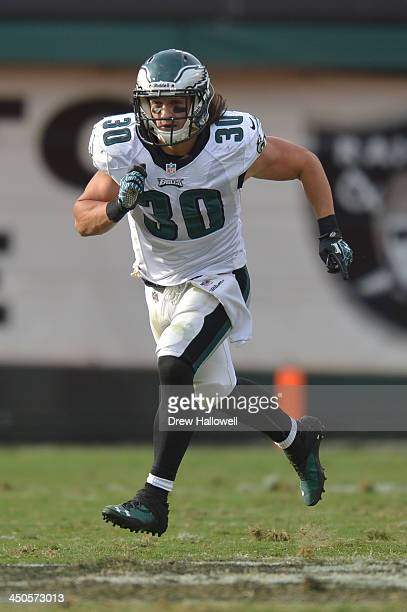 Colt Anderson of the Philadelphia Eagles runs against the Oakland Raiders at Oco Coliseum on November 3 2013 in Oakland California The Eagles won 4920