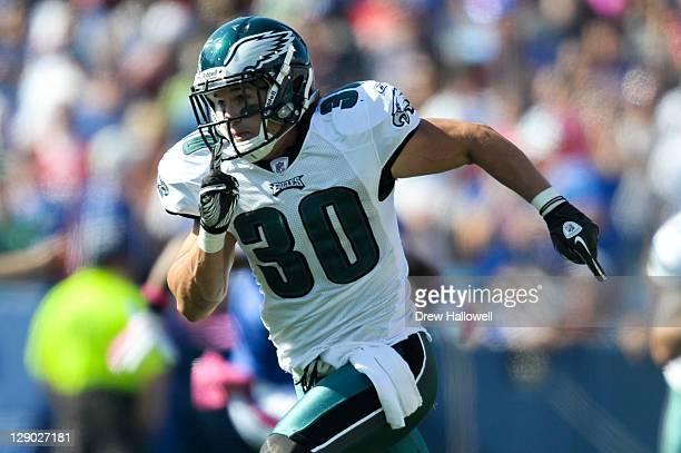 Colt Anderson of the Philadelphia Eagles runs during the game against the Buffalo Bills at Ralph Wilson Stadium on October 9 2011 in Orchard Park New...