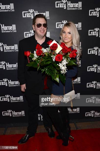 Colt Johnson and Samantha Harris attend Johnson's official divorce party at the Crazy Horse 3 Gentlemen's Club on March 01 2019 in Las Vegas Nevada