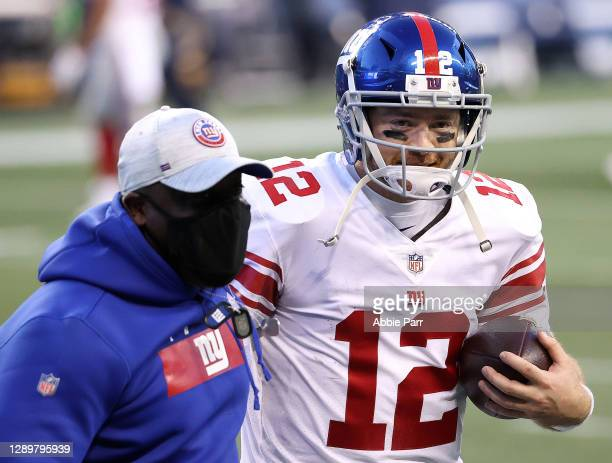 Colt McCoy of the New York Giants celebrates after defeating the Seattle Seahawks in the game at Lumen Field on December 06, 2020 in Seattle,...