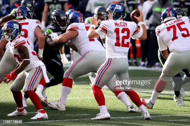 Colt McCoy of the New York Giants looks to pass against the Seattle Seahawks during the first quarter in the game at Lumen Field on December 06, 2020...