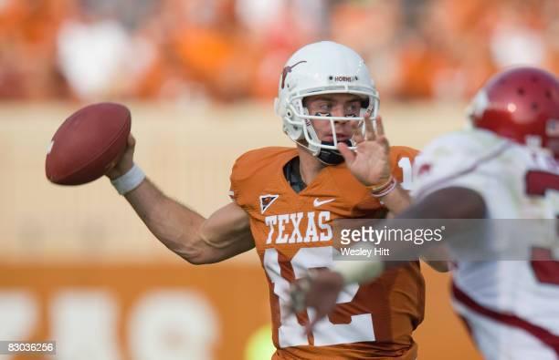 Colt McCoy of the Texas Longhorns throws a pass against the Arkansas Razorbacks at Darrell K. Royal-Texas Memorial Stadium on September 27, 2008 in...