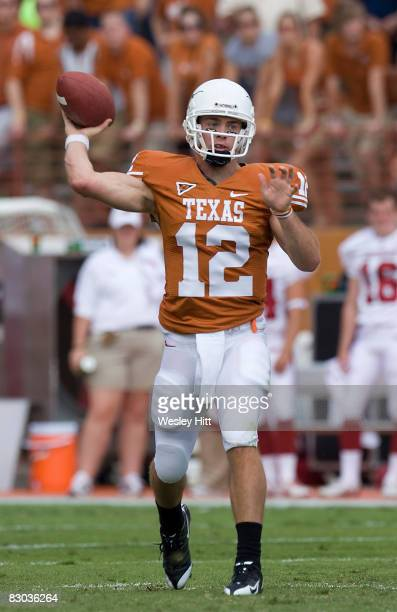 Colt McCoy of the Texas Longhorns throws a pass with no pressure against the Arkansas Razorbacks at Darrell K. Royal-Texas Memorial Stadium on...