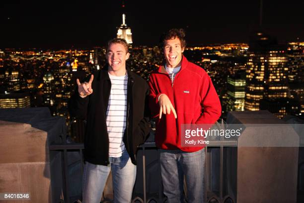 Colt McCoy of the University of Texas and Sam Bradford of the University of Oklahoma visit the Top of the Rock on December 12 2008 in New York City