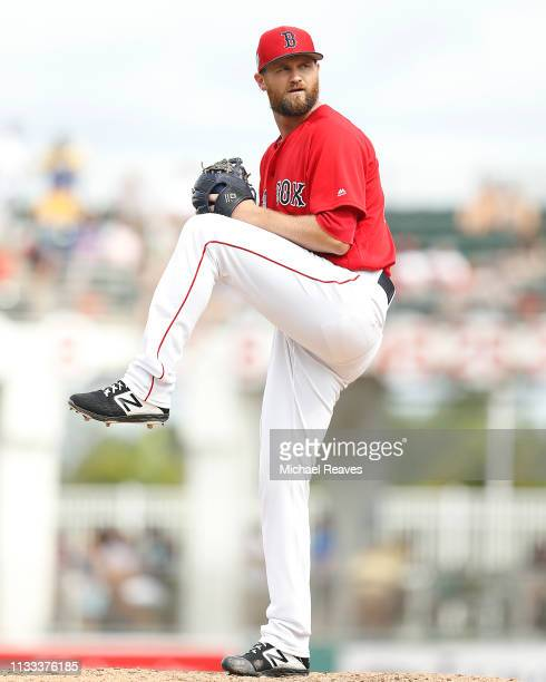 Colten Brewer of the Boston Red Sox delivers a pitch against the Baltimore Orioles during the Grapefruit League spring training game at JetBlue Park...