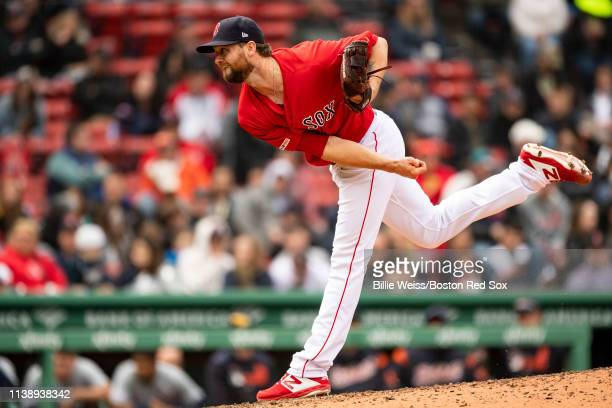 Colten Brewer of the Boston Red Sox delivers during the eighth inning of a game against the Detroit Tigers on April 23 2019 at Fenway Park in Boston...